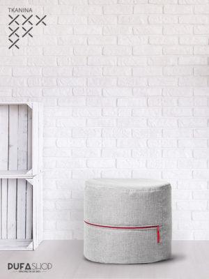 pufa roll g szara z czerwonym zamkiem kodura aranżacja