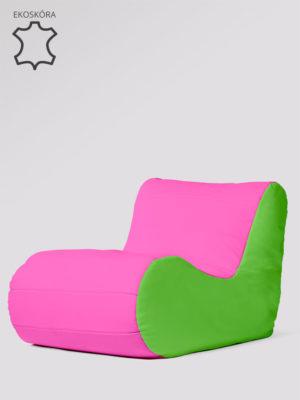 fotel savoy limonkowo różowy ekoskóra