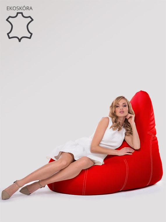 fotel deluxe czerwony ekoskóra