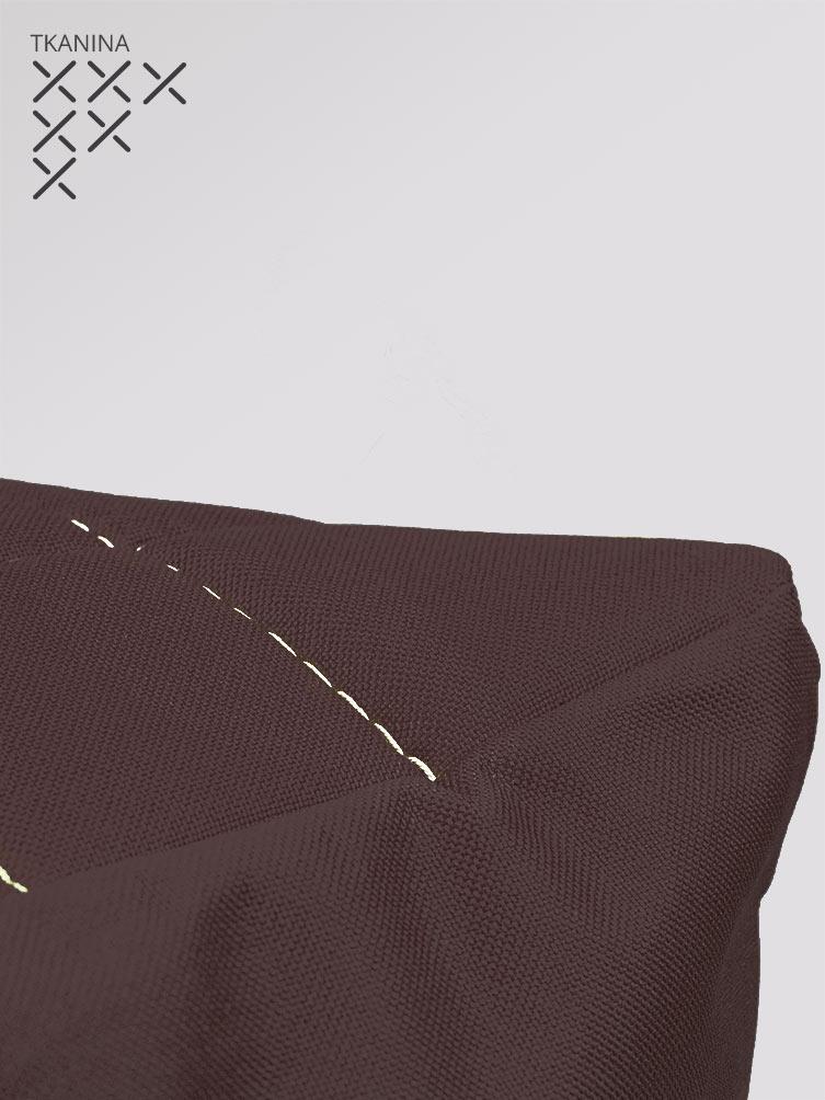 Pufa Kostka brązowa tkanina