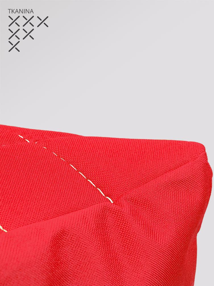 Pufa Kostka czerwona tkanina