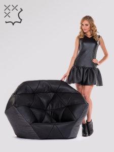 Fotel Avatar czarno szary skóra ekologiczna tkanina