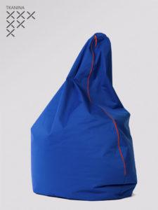 Pufa Egg niebieska z czerwonym zamkiem tkanina