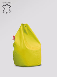 Pufa xl żółta skóra ekologiczna
