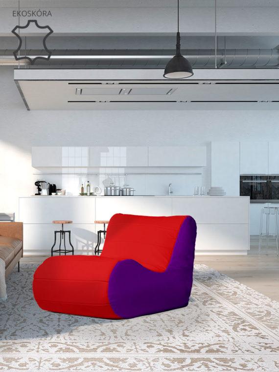 fotel savowy fioletowo czerwony ekoskóra aranżacja