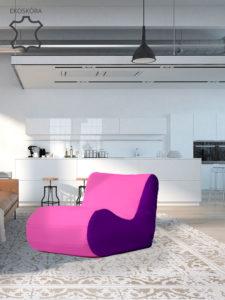 Fotel Savoy fioletowo różowy skóra ekologiczna