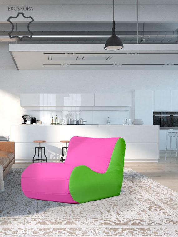fotel savoy limonkowo różowy ekoskóra aranżacja