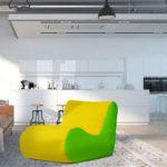 fotel savoy limonkowo żółty ekoskóra aranżacja