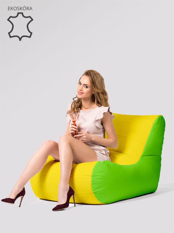 fotel savoy limonkowo żółty ekoskóra